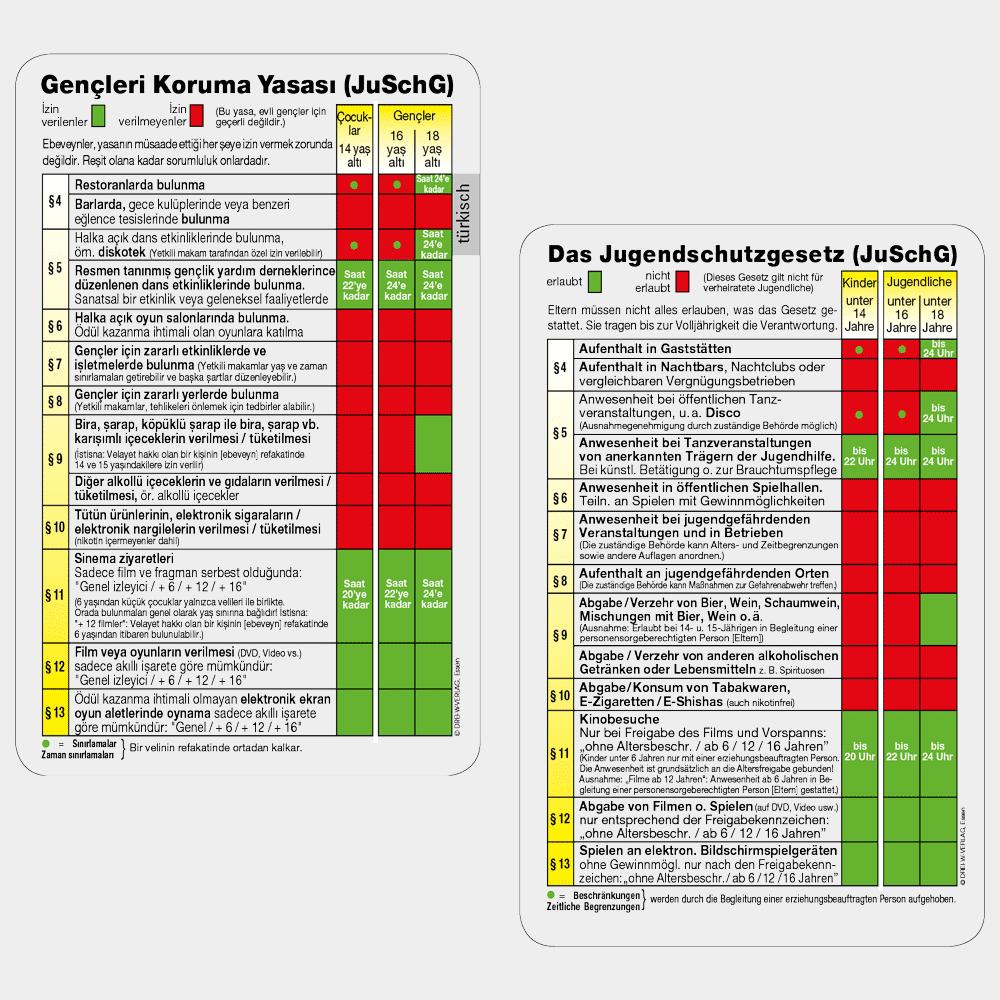Aktionskarte Jugendschutztabelle in deutsch & türkisch