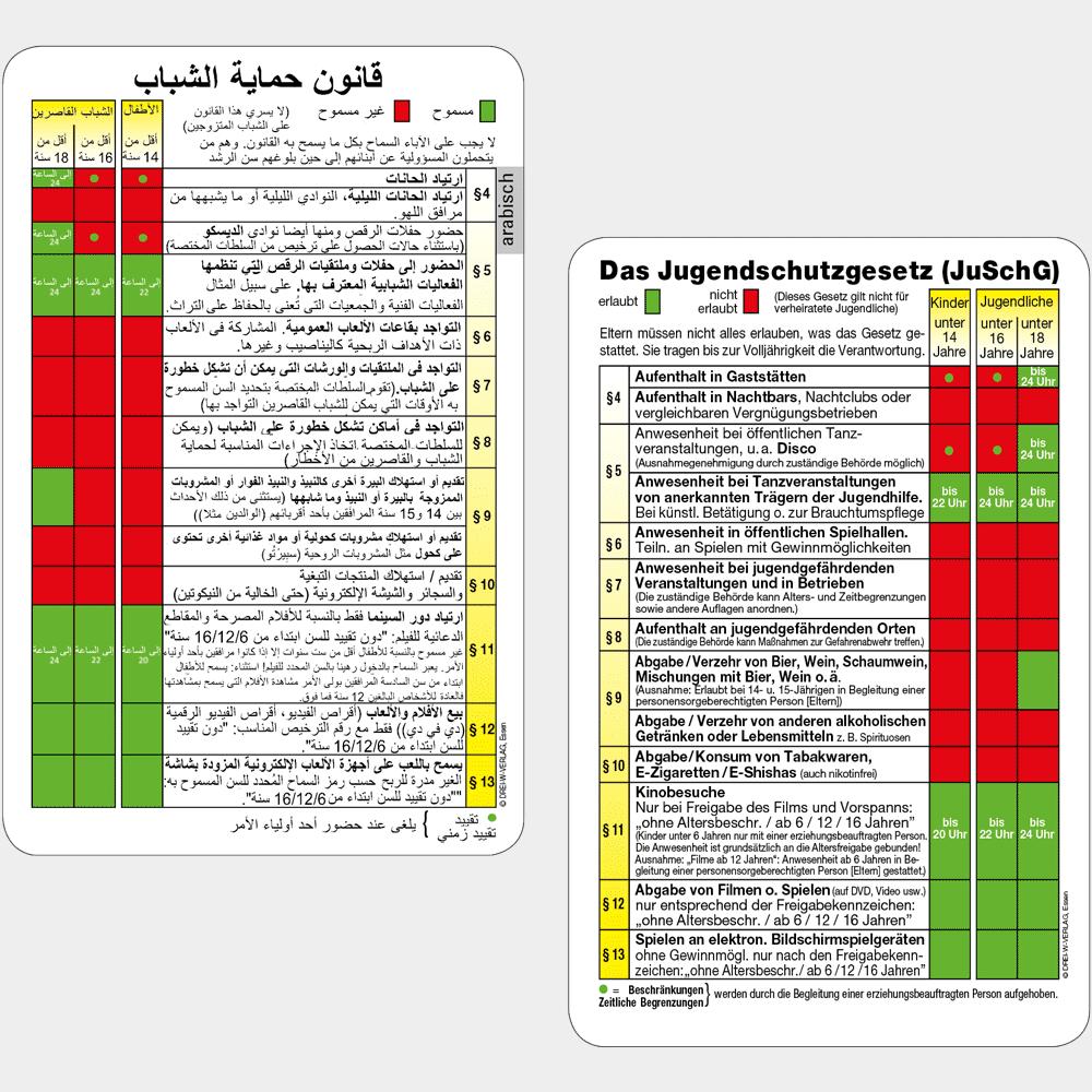 Aktionskarte Jugendschutztabelle in deutsch & arabisch