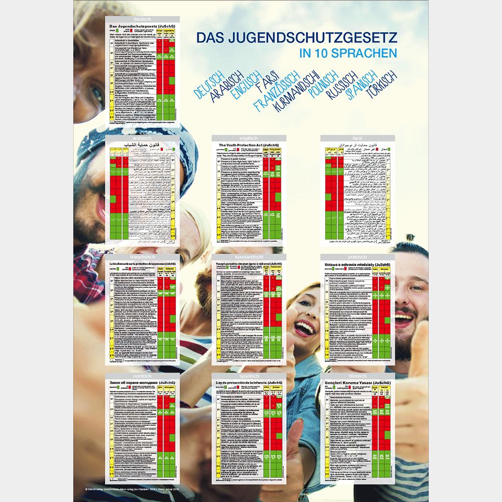 Plakat (DIN-A3) • Jugendschutztabelle in zehn Sprachen